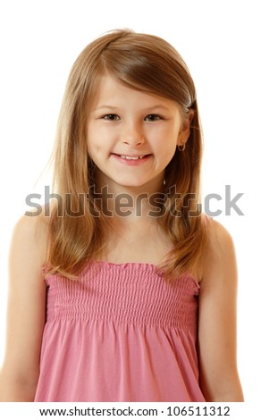 cute smiling little girl, isolated on white background - stock photo