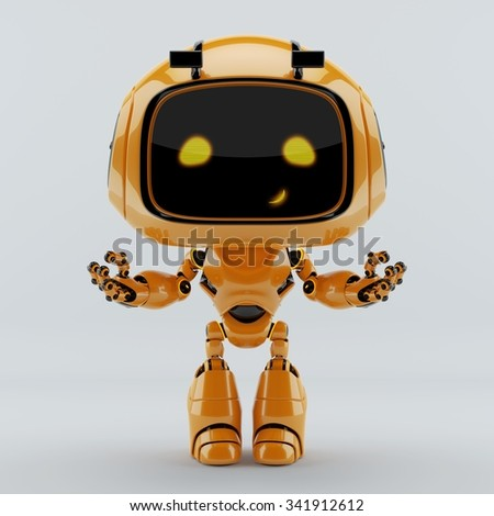 Cute smiling orange engineer robot toy gesturing with wide opened arms - stock photo