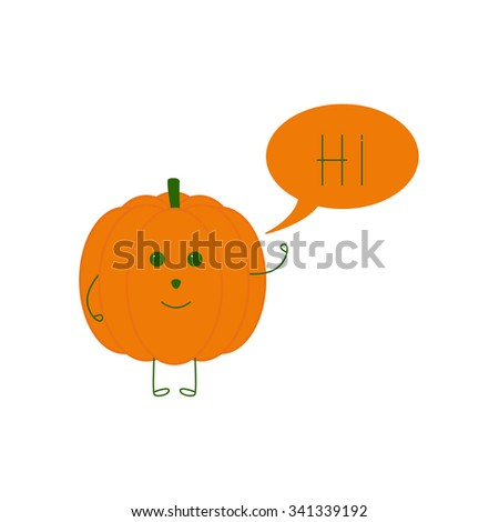 Cute smiling pumpkin character waving hand and speech bubble with word hi in it isolated on white background. Logo template, design element, vegetarian menu decoration. Flat style illustration - stock photo