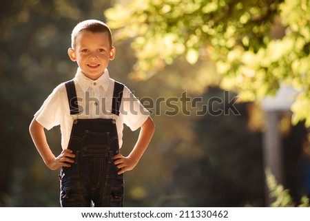 Cute smiling young boy backlit by the sun standing in a confident pose with his hands on his hips looking at the camera with a cheek grin - stock photo