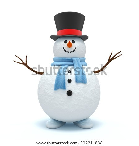 Cute snowman isolated on the white background - stock photo