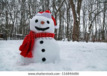cute snowman on snowy field - stock photo