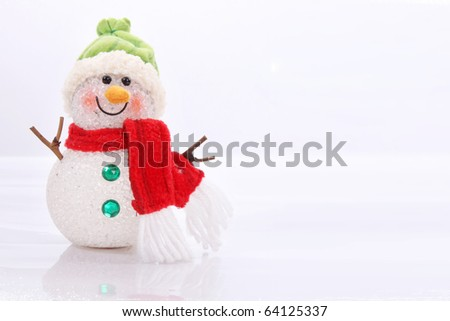 Cute snowman over white background. Christmas Card - stock photo
