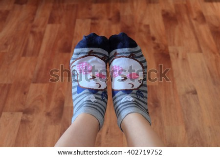 cute sock with foot - stock photo
