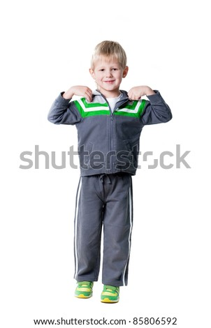 cute sportive boy workout isolated on white background - stock photo