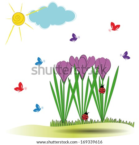 Cute spring background with violet crocuses and butterfly
