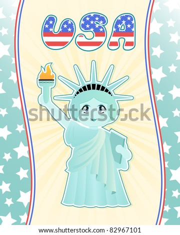 cute statue of liberty (raster version) - stock photo