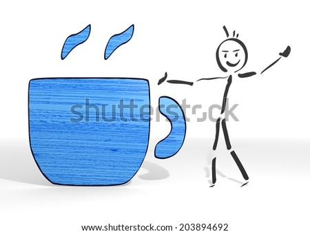 cute stick man presents a coffee sign white background - stock photo