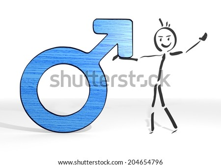 cute stick man presents a man symbol white background - stock photo