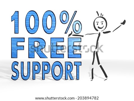 cute stick man presents a 100 percent free support symbol white background - stock photo