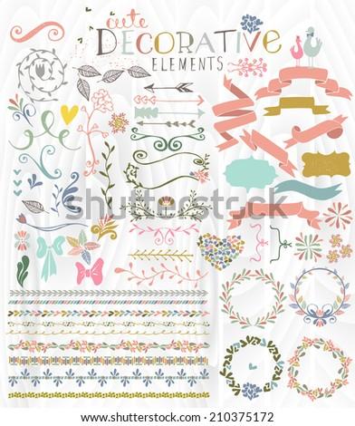 Cute Stylish Decorative Elements - stock photo
