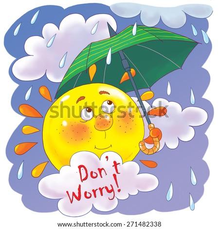 Cute Sun Umbrella Clouds Rain Rainy Stock Illustration ...