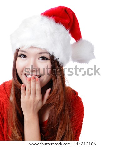 Cute surprised Santa girl smile covering her mouth with her hand with copy space isolated on white background, model is a asian woman - stock photo