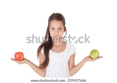 cute sweet little girl with two apples