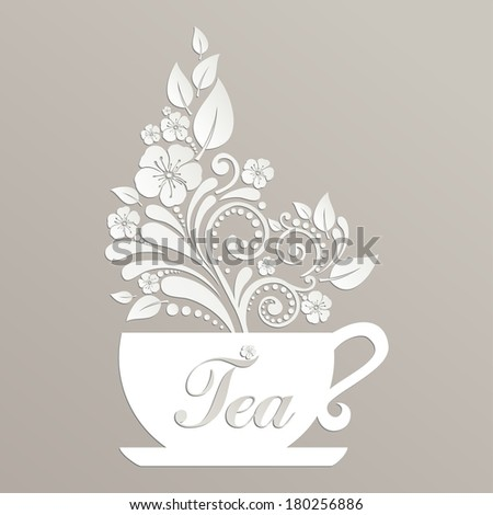 Cute tea time card. Cup with floral design elements. Menu for restaurant, cafe, bar, tea-house. illustration  - stock photo