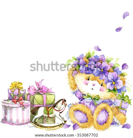 Cute teddy bear and flower violet background. Watercolor teddy bear. Toy bear, flowers and gifts background for invitation, card, kid celebration. watercolor illustration - stock photo