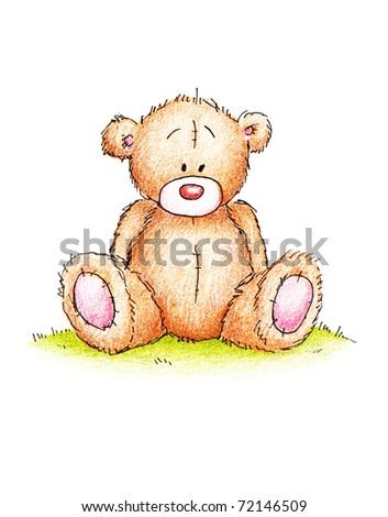 Cute teddy bear sitting on a green lawn - stock photo