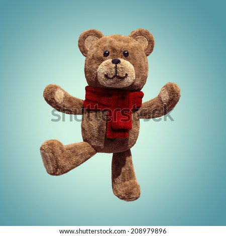 cute teddy bear toy dancing, 3d cartoon character - stock photo