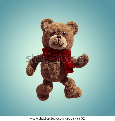 cute teddy bear toy walking, 3d cartoon character - stock photo