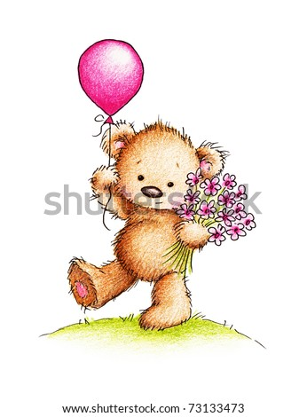 Cute teddy bear with flowers and balloon on green lawn - stock photo