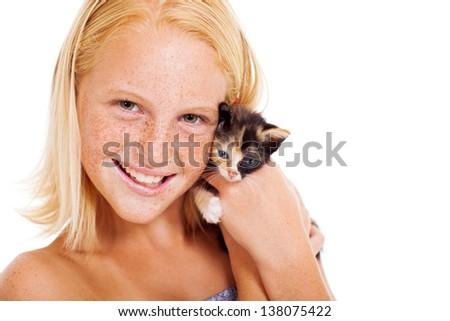cute teen girl holding a little pet kitten - stock photo
