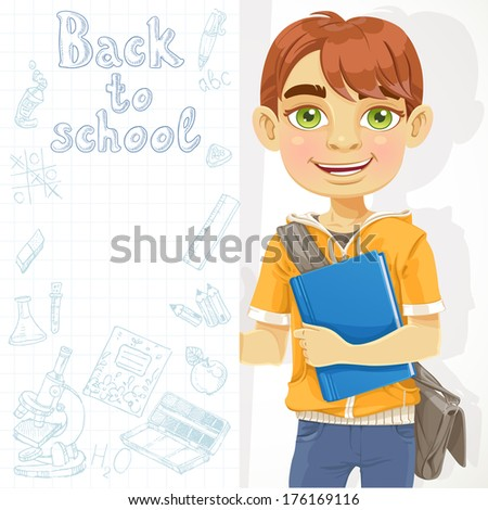 Cute teenage boy holding a banner - stock photo