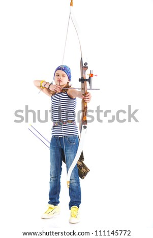 Cute teenage girl doing archery. Isolated on white background - stock photo