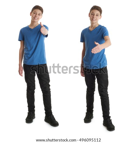 Cute teenager boy in blue T-shirt standing and showing thumb up sign over white isolated background full body