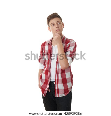 Cute teenager boy in red checkered shirt with hand over chin over white isolated background, half body, thinking concept - stock photo