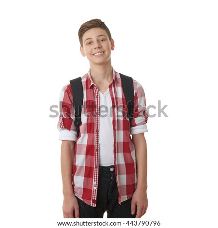 Cute teenager boy in red checkered shirt with school bag over white isolated background, half body, as school, education concept - stock photo