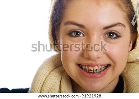 Cute teenager girl with braces.