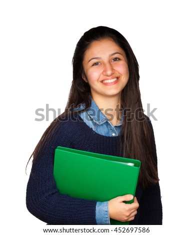 Cute teenager smiling on white background, concept of student and generic person.