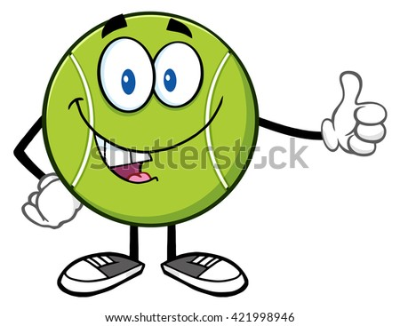 Cute Tennis Ball Cartoon Mascot Character Giving A Thumb Up. Raster Illustration Isolated On White - stock photo