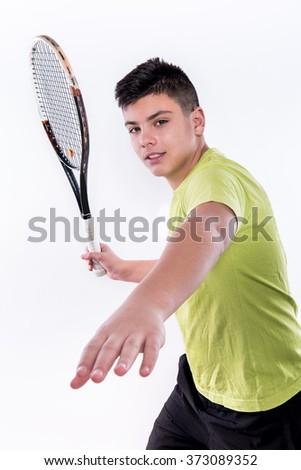Cute Tennis Boy Swings with Racket - stock photo