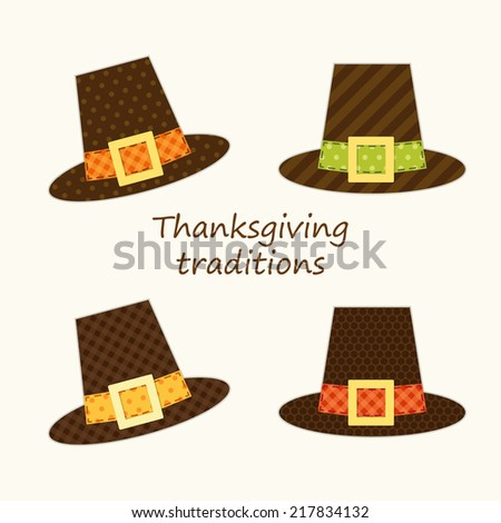 Cute Thanksgiving Pilgrim hats as retro fabric applique for your decoration - stock photo