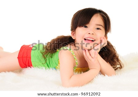 Cute thechildren lying on white the blanket - stock photo