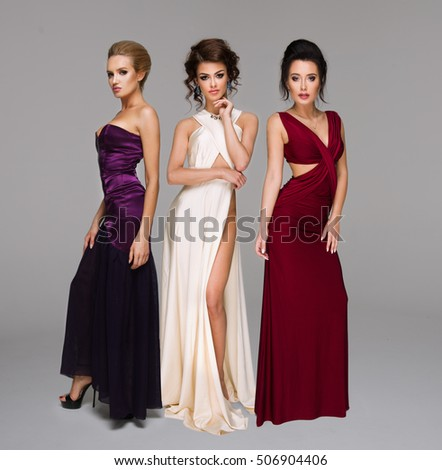 Cute three women in gorgeous dress