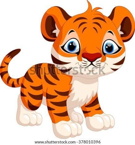Cute tiger cartoon - stock photo