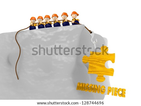 cute tiny man pull up a missing piece comic 3d illustration - stock photo