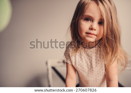 cute toddler girl portrait at home - stock photo