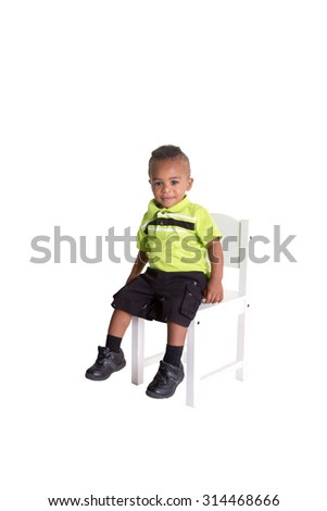 Cute toddler isolated on white - stock photo