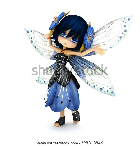 Cute toon fairy wearing blue flower dress with flowers in her hair posing on a white isolated background.  Part of a little fairy series. - stock photo