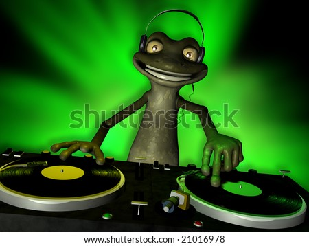 Cute toon frog DJ spinning records. Turntables with vinyl albums.