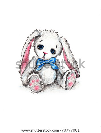 Cute toy bunny with blue ribbon on white background - stock photo