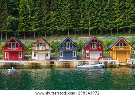 Cute traditional houses in Sognefjord, Norway.