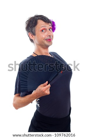 Cute transvestite man dressed as woman, isolated on white background. - stock photo