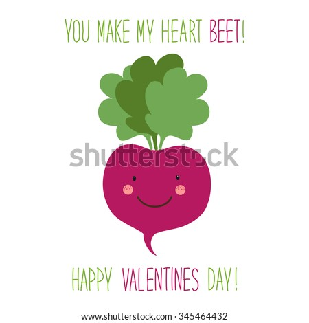 Cute unusual hand drawn Valentines Day card with funny cartoon character of beet and hand written note  - stock photo
