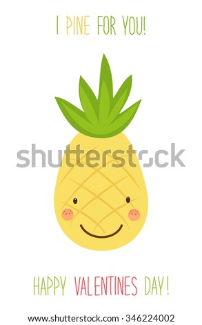 Cute unusual hand drawn Valentines Day card with funny cartoon character of pineapple and hand written note - stock photo
