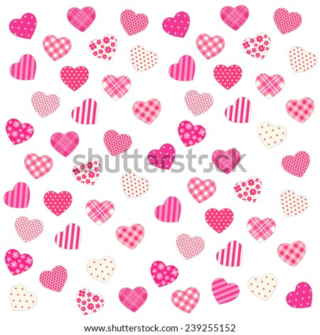 Cute Valentine's day background with different hearts in shabby chic style