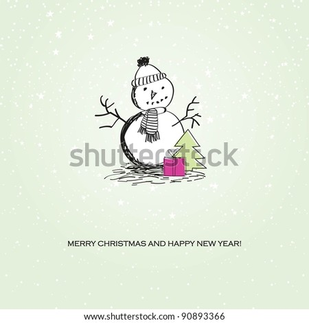 Cute vintage christmas card with snowman. Jpeg version - stock photo